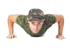 Young army soldier doing push up Royalty Free Stock Images