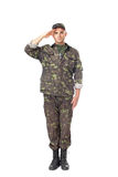Young army soldier saluting stock image