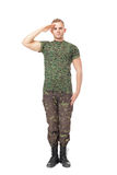Young army soldier saluting stock photography