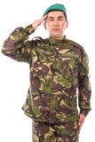 Young army soldier saluting. Isolated on white background Stock Photo