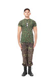 Young army soldier standing in attention Royalty Free Stock Images