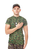 Young army soldier swear solemnly Stock Images