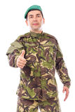 Young army soldier with thumb up Royalty Free Stock Photos