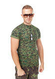 Young army soldier wearing sunglasses Royalty Free Stock Photos