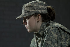 Young army woman dealing with PTSD Royalty Free Stock Image