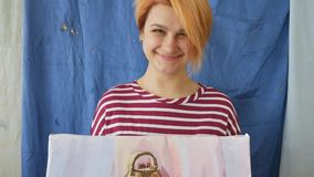 A young artist in an art workshop draws a still-life from nature in watercolor. stock video
