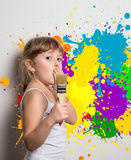 young artist with colors Stock Photo