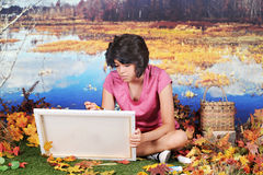Young Artist in the Fall royalty free stock photo