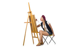The young artist isolated on white. Young artist isolated on white Royalty Free Stock Photos