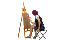 Young artist isolated on white Royalty Free Stock Image