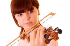 Young artist with play violin Royalty Free Stock Photos