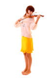 Young artist with play violin isolated Stock Photo