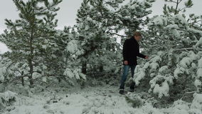 Young Artist Singing In Winter Forest stock footage