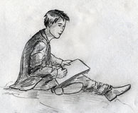 Young artist sketch Stock Images