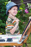 Young artist starting his work Royalty Free Stock Photos
