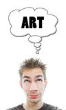 Young artist thinks about art. Young white Caucasian male adult thinks about art in his think bubble isolated on white background Stock Photography