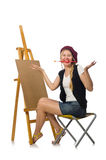 The young artist on white Stock Photos