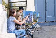 Young artists paint the Saint Sophia Cathedral Royalty Free Stock Photo