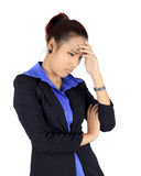Young asain business woman with headache on white Royalty Free Stock Image