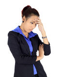 Young asain business woman with headache on white Royalty Free Stock Photography