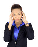 Young asain business woman with headache on white Stock Photography