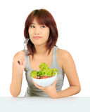 Young asain woman with a bowl of vegetable salad Royalty Free Stock Images