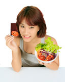 Young asain woman with a bowl of vegetable salad Stock Photography