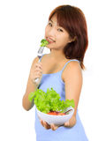 Young asain woman with a bowl of vegetable salad Stock Photo