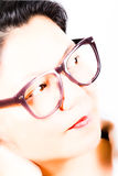 Young Asia woman with retro eyeglasses. Young Asia woman from China with retro eyeglasses Stock Images