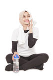 Young asia woman take a rest after workout Stock Photo