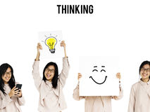 Young Asian Adult Woman Thinking Ideas Studio Isolated Stock Photography