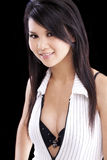 Young Asian American Woman Open Shirt Bra Stock Photos