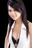 Young Asian American Woman Open Shirt Bra Stock Photos