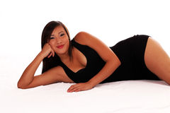 Young Asian American woman reclining Royalty Free Stock Image