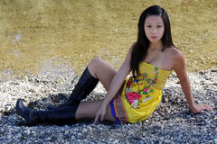 Young Asian American Woman Yellow Dress River Royalty Free Stock Images