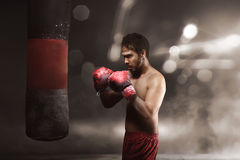 Young asian athlete practicing with a punching bag Stock Photos