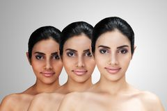 Young Asian attractive woman with skin brightening or facial rejuvenation concept. Face whitening after treatment compare before - after and lightening stock images