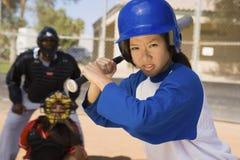 Young Asian Baseball Player With Bat Royalty Free Stock Photos
