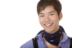 Young Asian in Bavarian Oktoberfest cloth Stock Photo