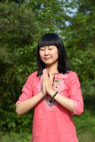 Young Asian beauty. Outdoors happy youth Royalty Free Stock Images