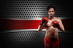 Young asian boxer with boxing gloves Royalty Free Stock Image