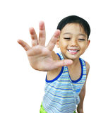 Young asian boy. With hand up stock images