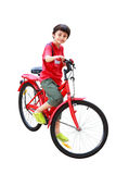 Young asian boy on the bike. Isolated on white with clipping path Stock Photography