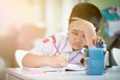 Young asian boy doing his homework Royalty Free Stock Images