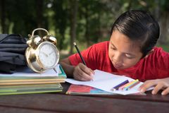 Young asian boy having fun drawing at park Royalty Free Stock Photo