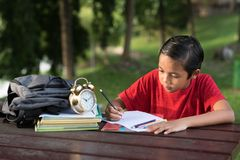 Young asian boy having fun drawing at park Stock Photo