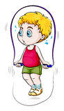 A young Asian boy playing skipping rope. Illustration of a young Asian boy playing skipping rope on a white background Stock Image