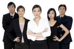 Young Asian Business Team. A group of five young asian businessmen and women on white background Stock Images