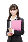 Young asian business woman. Holding a file documant Royalty Free Stock Photo