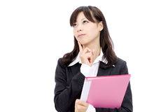 Young asian business woman. Portrait of young asian business woman thinking Stock Image